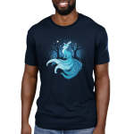 Winter Kitsune Men's t-shirt model TeeTurtle navy t-shirt featuring a blue kitsune with a blue night sky behind him with his tale flowing down a hill with dark tress behind him and snowflakes