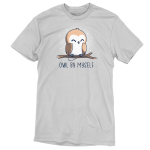 Owl by Myself silver t-shirt featuring a happy barn owl with closed eyes perched on a branch with white sparkles in the background.