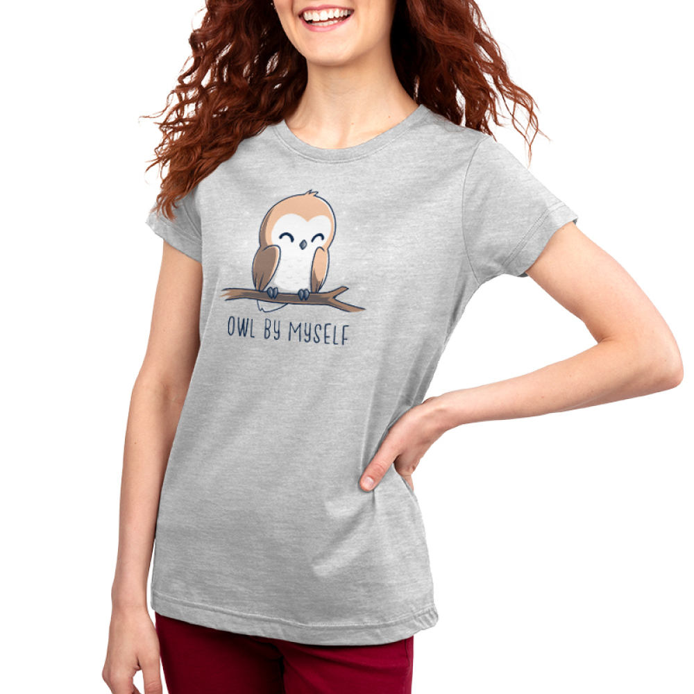 Owl by Myself Women's t-shirt model TeeTurtle silver t-shirt featuring a happy barn owl with closed eyes perched on a branch with white sparkles in the background.