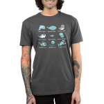 Aquatic Alignments Men's t-shirt model TeeTurtle charcoal t-shirt featuring a grid of 9 aquatic animals all with tabletop alignments written underneath
