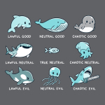 Aquatic Alignments t-shirt TeeTurtle charcoal t-shirt featuring a grid of 9 aquatic animals all with tabletop alignments written underneath