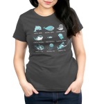 Aquatic Alignments Women's t-shirt model TeeTurtle charcoal t-shirt featuring a grid of 9 aquatic animals all with tabletop alignments written underneath