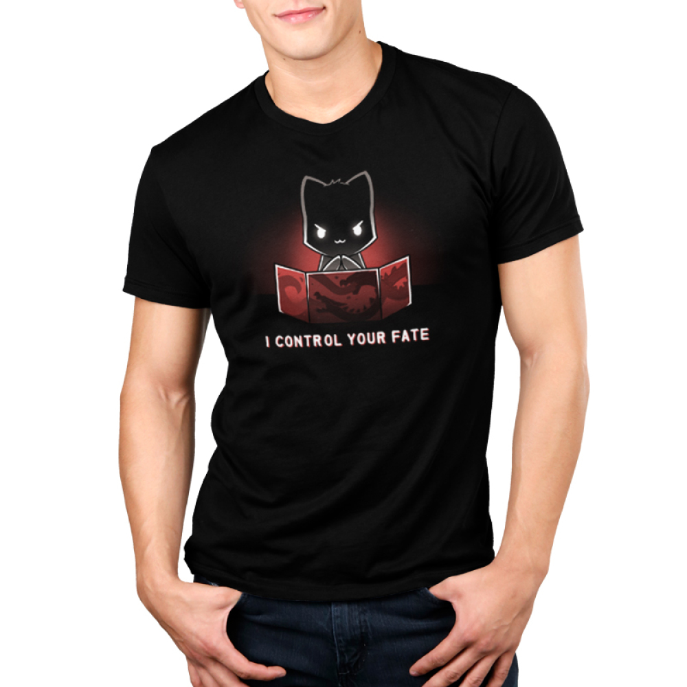 I Control Your Fate Men's t-shirt model TeeTurtle black t-shirt featuring a black cat diabolically rubbing its paws behind a red tabletop game master screen that has dragons engraved on it.