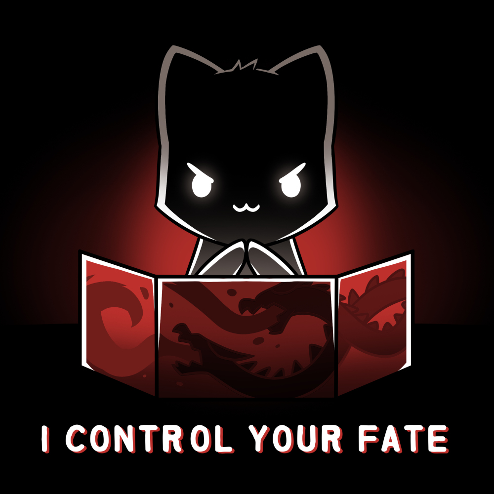 I Control Your Fate t-shirt TeeTurtle black t-shirt featuring a black cat diabolically rubbing its paws behind a red tabletop game master screen that has dragons engraved on it.