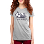 I'm Having So Much Fun Women's t-shirt model TeeTurtle silver t-shirt featuring a panda with a neutral, slightly tired expressionlying on its belly with its cheek smooshed against the ground.