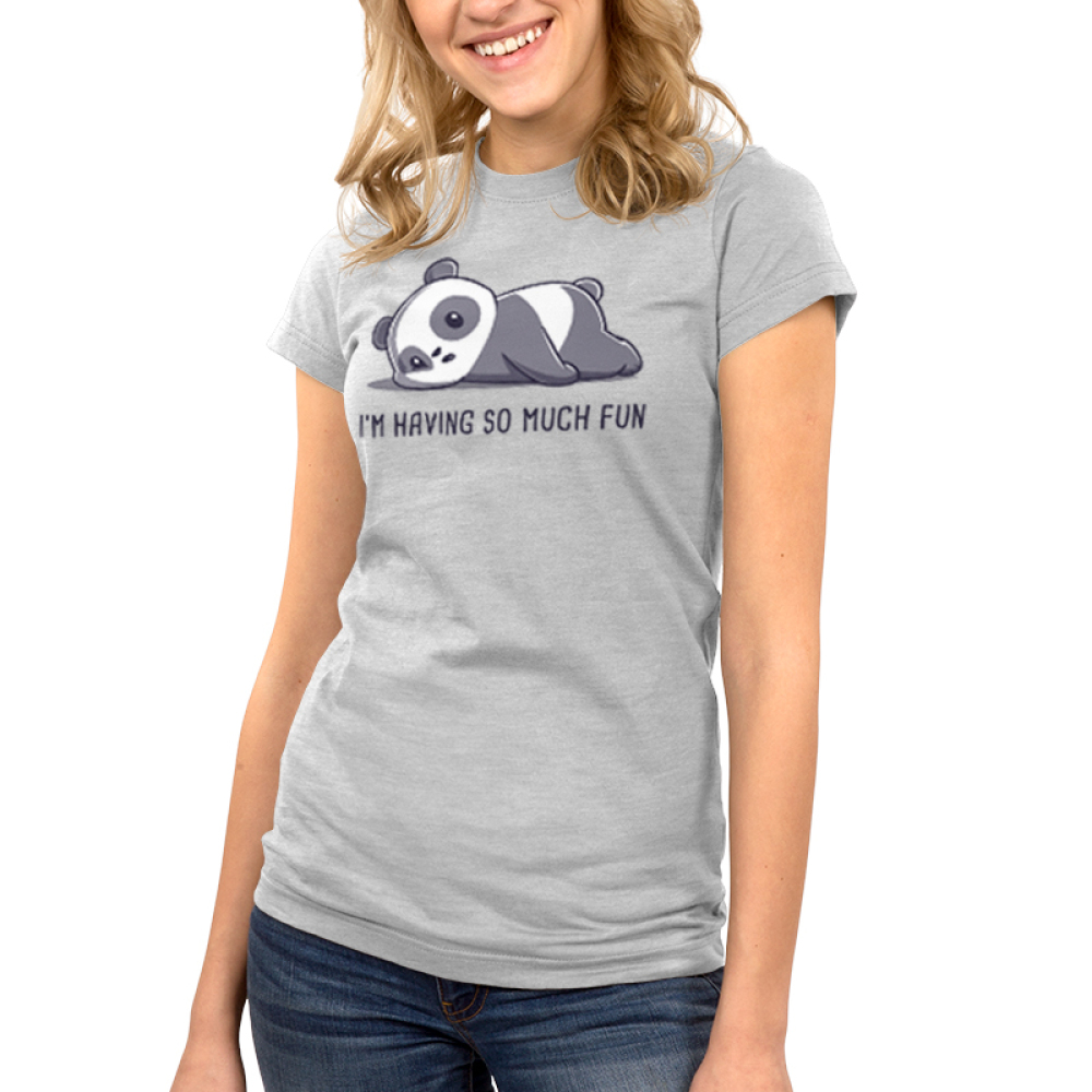 I'm Having So Much Fun Junior's t-shirt model TeeTurtle silver t-shirt featuring a panda with a neutral, slightly tired expressionlying on its belly with its cheek smooshed against the ground.