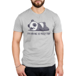 I'm Having So Much Fun Men's t-shirt model TeeTurtle silver t-shirt featuring a panda with a neutral, slightly tired expressionlying on its belly with its cheek smooshed against the ground.