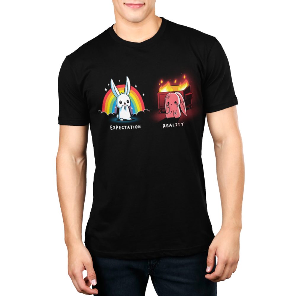 Expectation vs Reality (Bunny) Men's t-shirt model TeeTurtle black t-shirt featuring a white happy bunny on the left with a rainbow and sparkles behind him and a sad red colored bunny on the right with a burning trash bin behind him