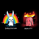 Expectation vs Reality (Bunny) t-shirt TeeTurtle black t-shirt featuring a white happy bunny on the left with a rainbow and sparkles behind him and a sad red colored bunny on the right with a burning trash bin behind him