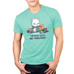 The Best Gifts are Homemade Men's t-shirt model TeeTurtle chill blue t-shirt featuring a happy sitting white cat wearing a green and red scarf while knitting a green and red scarf and is surrouded by boxes, yarn, scissors, knitting needles, and ribbons.
