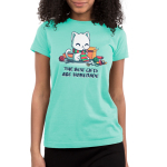 The Best Gifts are Homemade Junior's t-shirt model TeeTurtle chill blue t-shirt featuring a happy sitting white cat wearing a green and red scarf while knitting a green and red scarf and is surrouded by boxes, yarn, scissors, knitting needles, and ribbons.