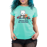 The Best Gifts are Homemade Women's t-shirt model TeeTurtle chill blue t-shirt featuring a happy sitting white cat wearing a green and red scarf while knitting a green and red scarf and is surrouded by boxes, yarn, scissors, knitting needles, and ribbons.