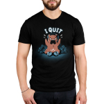 I Quit Men's t-shirt model TeeTurtle black t-shirt featuring an angrily yelling brown bear waring a headset with a gaming controller broken into two pieces in front of him, and a pile of broken gaming controllers behind him.
