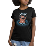 I Quit Women's t-shirt model TeeTurtle black t-shirt featuring an angrily yelling brown bear waring a headset with a gaming controller broken into two pieces in front of him, and a pile of broken gaming controllers behind him.