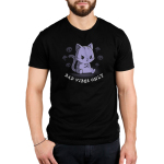 Bad Vibes Only Men's t-shirt model TeeTurtle black t-shirt featuring a grumpy purple tabby cat sitting down with front paws crossed surrounded by skulls and clouds with lightning bolts.