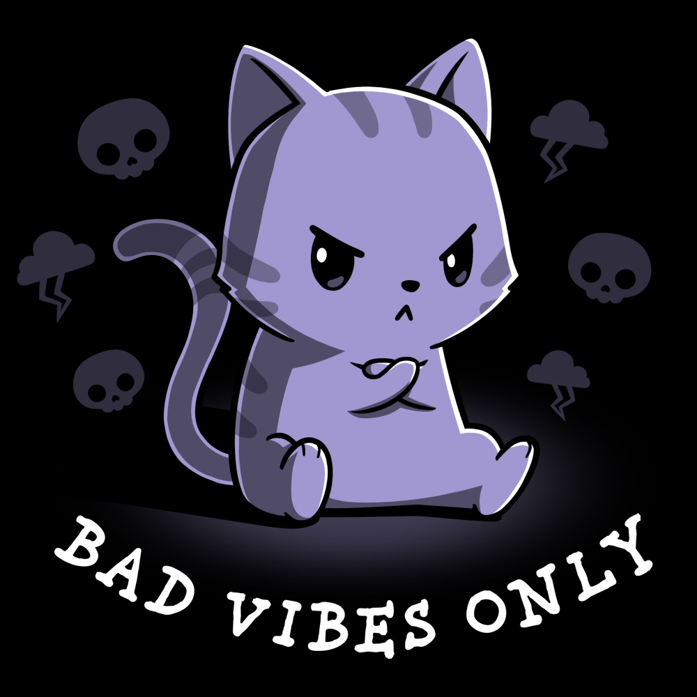 Bad Vibes Only  t-shirt TeeTurtle black t-shirt featuring a grumpy purple tabby cat sitting down with front paws crossed surrounded by skulls and clouds with lightning bolts.