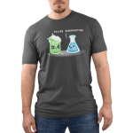 You're Overreacting Men's t-shirt model TeeTurtle charcoal t-shirt featuring a science beaker with green bubbling liquid with an angry face and a worried looking flask with blue liquid