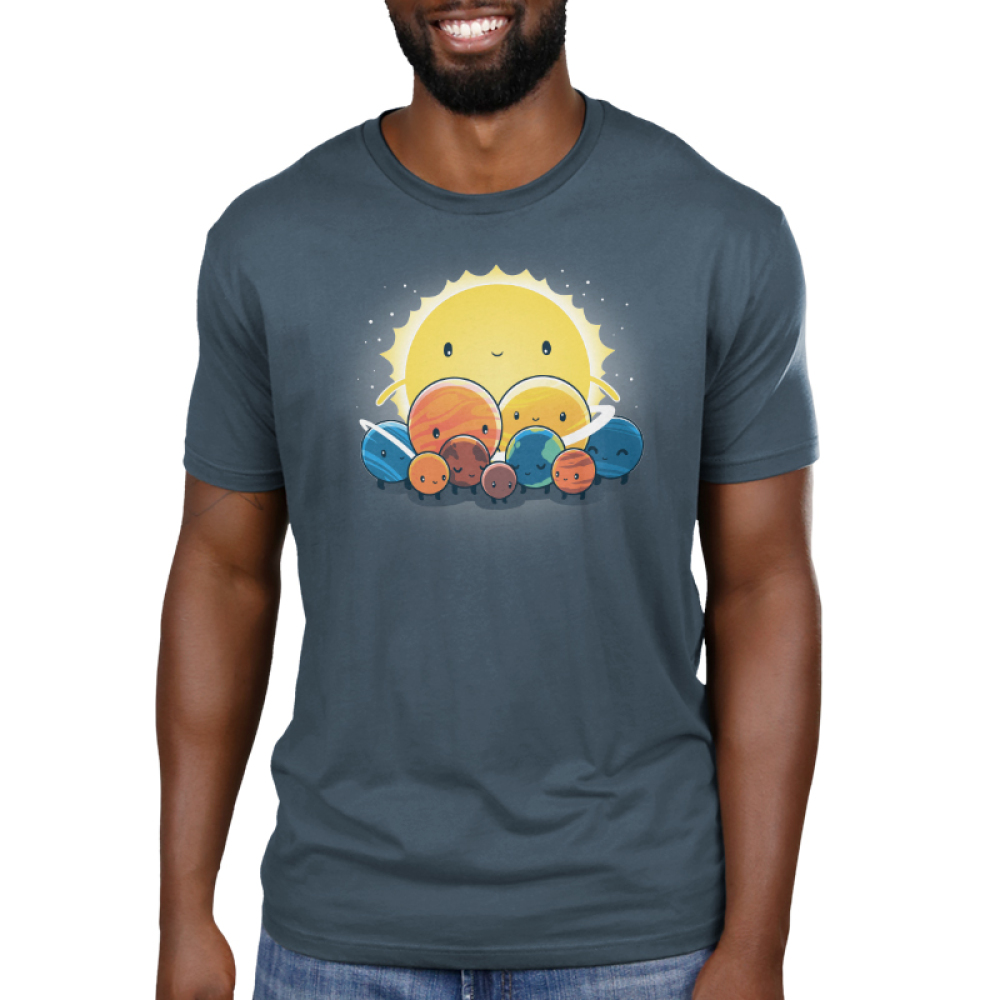 We Still Love You, Pluto Men's t-shirt model TeeTurtle denim blue t-shirt featuring all the planets with smiley faces surround Pluto who looks sad with the big sun behind. them all