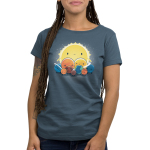 We Still Love You, Pluto Women's t-shirt model TeeTurtle denim blue t-shirt featuring all the planets with smiley faces surround Pluto who looks sad with the big sun behind. them all