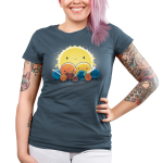 We Still Love You, Pluto Junior's t-shirt model TeeTurtle denim blue t-shirt featuring all the planets with smiley faces surround Pluto who looks sad with the big sun behind. them all