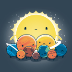 We Still Love You, Pluto t-shirt TeeTurtle denim blue t-shirt featuring all the planets with smiley faces surround Pluto who looks sad with the big sun behind. them all
