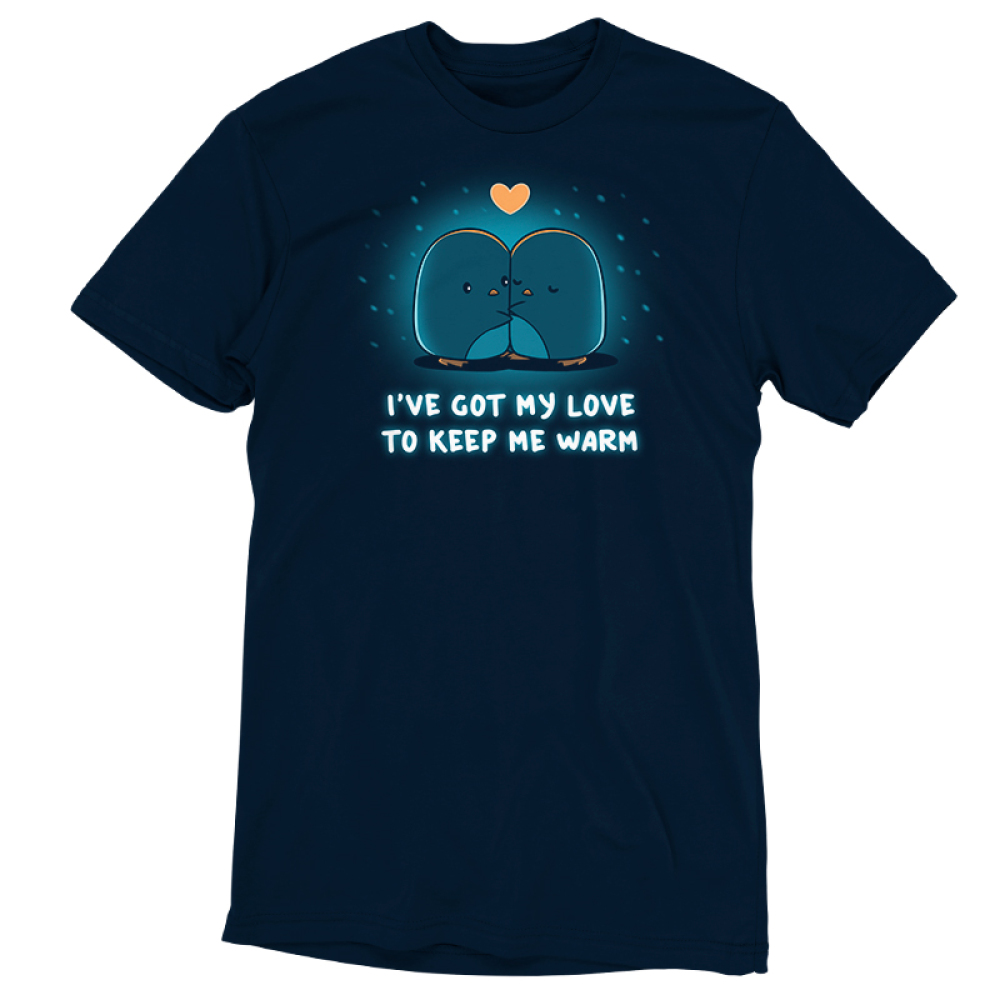 I've Got My Love to Keep Me Warm t-shirt TeeTurtle navy t-shirt featuring two penguins hugging with a heart above them and snow falling
