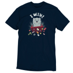 I Win! t-shirt TeeTurtle navy t-shirt featuring a light gray cat with a starburst behind it flipping over a red table and scattering dice, playing cards and figurines all over the place.
