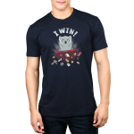 I Win! Men's t-shirt model TeeTurtle navy t-shirt featuring a light gray cat with a starburst behind it flipping over a red table and scattering dice, playing cards and figurines all over the place.
