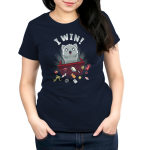 I Win! Women's t-shirt model TeeTurtle navy t-shirt featuring a light gray cat with a starburst behind it flipping over a red table and scattering dice, playing cards and figurines all over the place.