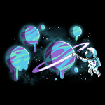 Astronaut Artist t-shirt TeeTurtle black t-shirt featuring an astronaut holding a painter's palette and painting the rings of a planet with several planets that they've painted in purple, blue, and green in the background.
