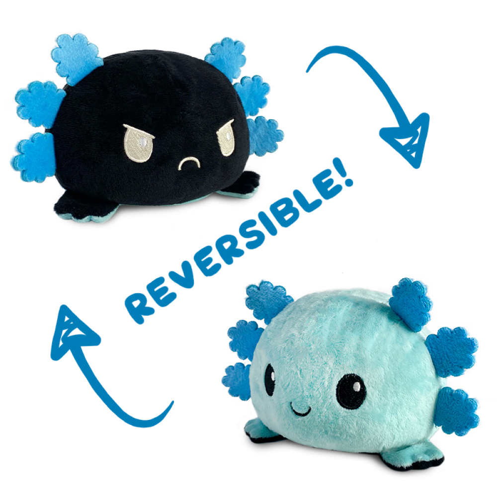 Reversible Axolotl Plushie featuring an angry black axolotl that flips into a happy blue axolotl