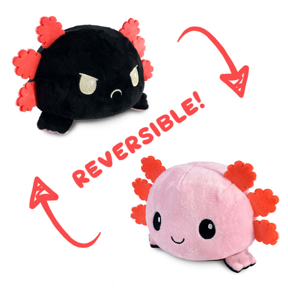 Reversible Axoltol Plushie featuring an angry black axolotl that flips into a happy pink axolotl