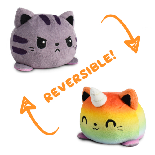 Reversible Cat & Kittencorn Plushie featuring an angry purple tabby that flips to a happy rainbow kittencorn.