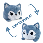 Reversible Wolf Plushie featuring an angry gray and white wolf that flips into a happy gray and white wolf