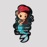 Salty Mermaid Sticker featuring a mermaid with red hair and a blue tail looking annoyed with her arms crossed