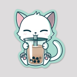 Boba Cat Sticker featuring a white cat sipping a boba drink