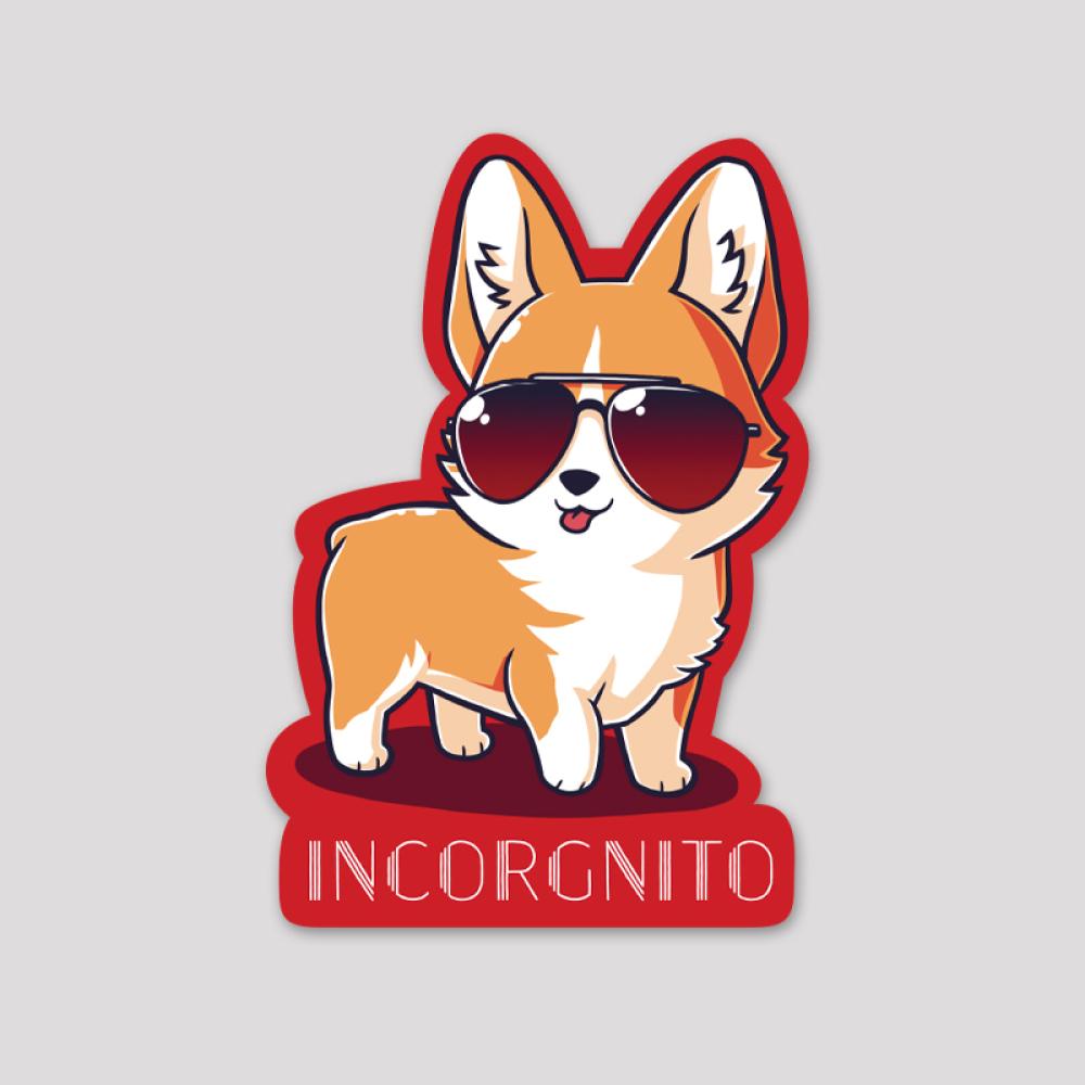Incorgnito Sticker featuring a corgi with sunglasses on