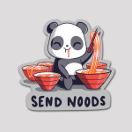 Send Noods Sticker featuring a panda surrounded by five bowls of noodles holding up noodles with chopsticks with noodles coming out of its mouth