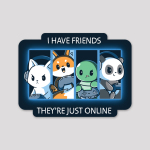 Online Friends Sticker featuring a cat, fox, turtle, and panda all with their gaming controllers in a grid next to each other