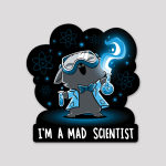 Mad Scientist Sticker featuring a cat with its head back, mouth open smiling, and eyes squinted with science googles on, a lab coat and bow tie, and two flasks with green liquid in each hand