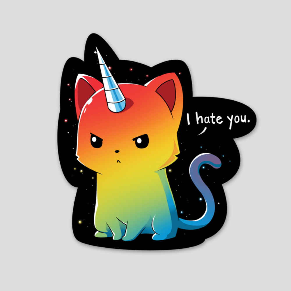 The Magical Kittencorn Sticker featuring a rainbow colored cat looking angry with a unicorn horn on its head