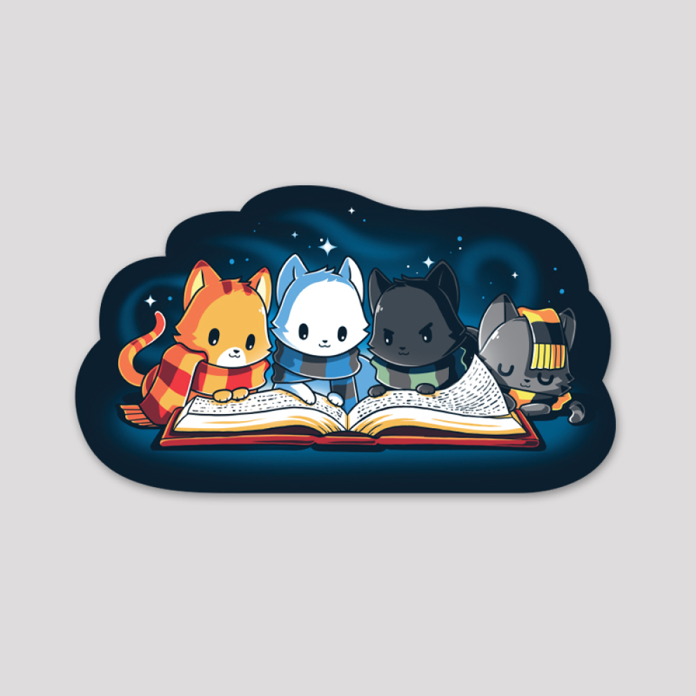 Books Are Magic Sticker featuring four cats - orange, white, black, and gray - all in different colored stripped scarves hunched over a big open book