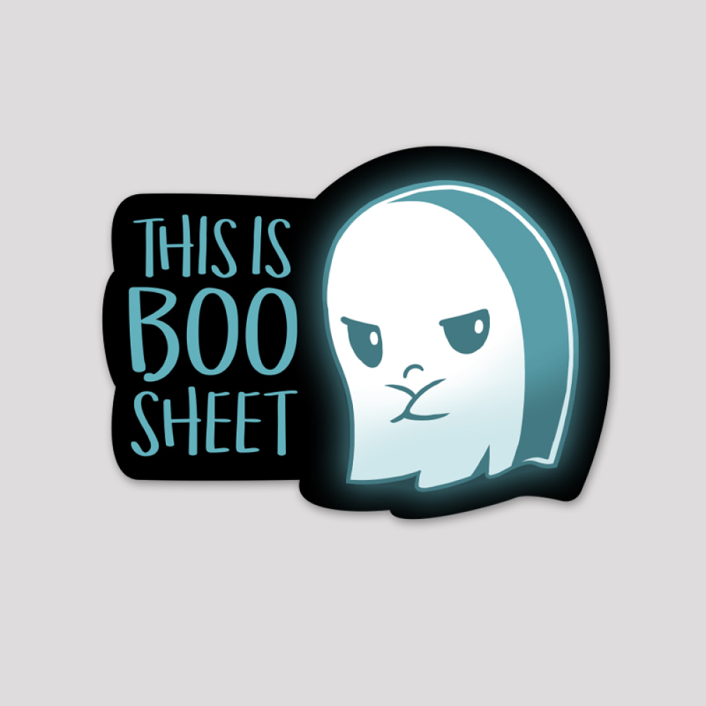 Boo Sheet Sticker featuring a ghost with its arms crossed