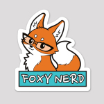 Foxy Nerd Sticker featuring a fox in glasses