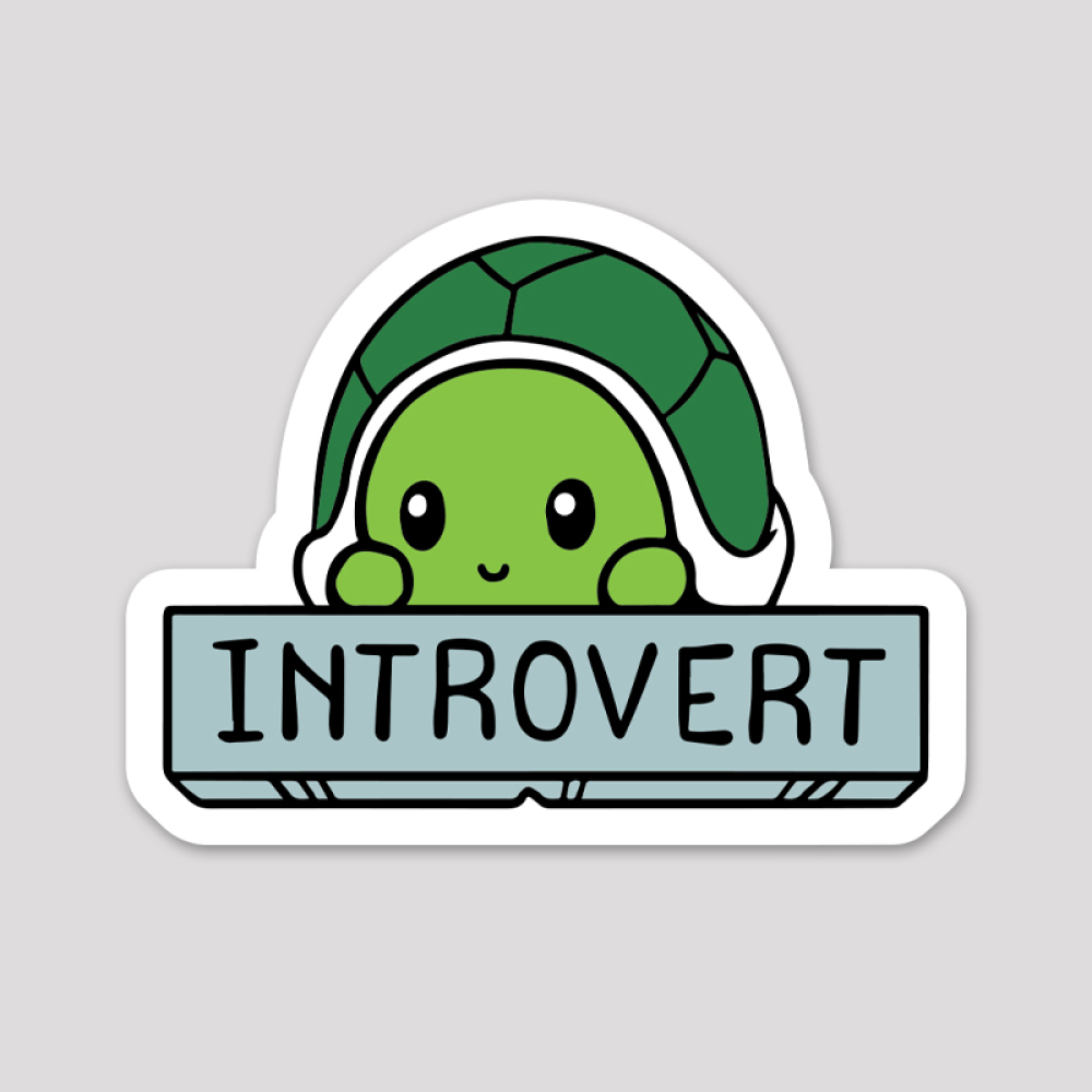 Introvert Sticker featuring a green turtle peaking out of its shell with a little smile