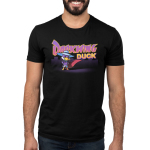 Darkwing Duck Men's t-shirt model TeeTurtle black t-shirt featuring Darkwing Duck from Darkwing Duck standing with a wide stance and his wings on his hips with his cape majestically flapping in the breeze in front of a dark city landscape.