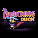 Darkwing Duck t-shirt TeeTurtle black t-shirt featuring Darkwing Duck from Darkwing Duck standing with a wide stance and his wings on his hips with his cape majestically flapping in the breeze in front of a dark city landscape.