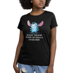 Scary Things Come in Small Packages Women's t-shirt model officially licensed black Disney t-shirt featuring Stitch from Lilo and Stitch with all six limbs out and standing on his back legs making a cute growling expression with teeth barred.