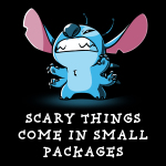 Scary Things Come in Small Packages t-shirt officially licensed black Disney t-shirt featuring Stitch from Lilo and Stitch with all six limbs out and standing on his back legs making a cute growling expression with teeth barred.