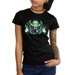 Dungeon Mster Junior's t-shirt model TeeTurtle black t-shirt featuring a green winged Cthulu-humanoid dressed in a cloak menacingly rubbing his tentacles together behind a dungeon master's screen with a mountain landscape pattern and there's bright green flames in the background.